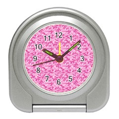 Shocking Pink Camouflage Pattern Travel Alarm Clocks