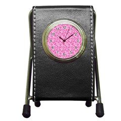 Shocking Pink Camouflage Pattern Pen Holder Desk Clocks
