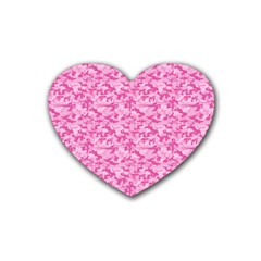 Shocking Pink Camouflage Pattern Heart Coaster (4 Pack)
