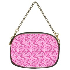 Shocking Pink Camouflage Pattern Chain Purses (one Side)