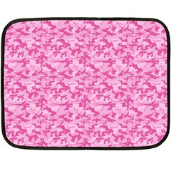 Shocking Pink Camouflage Pattern Double Sided Fleece Blanket (mini)
