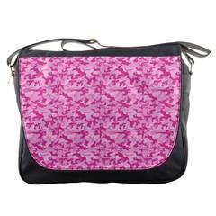 Shocking Pink Camouflage Pattern Messenger Bags