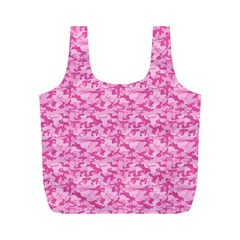 Shocking Pink Camouflage Pattern Full Print Recycle Bags (M)
