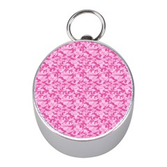 Shocking Pink Camouflage Pattern Mini Silver Compasses