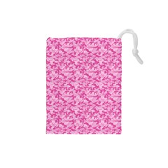 Shocking Pink Camouflage Pattern Drawstring Pouches (small)