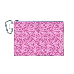Shocking Pink Camouflage Pattern Canvas Cosmetic Bag (M)