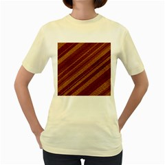Stripes Course Texture Background Women s Yellow T-Shirt
