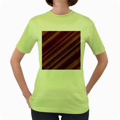 Stripes Course Texture Background Women s Green T-Shirt
