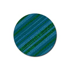 Stripes Course Texture Background Rubber Round Coaster (4 Pack)
