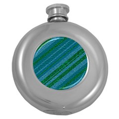 Stripes Course Texture Background Round Hip Flask (5 oz)
