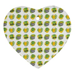 St Patrick S Day Background Symbols Heart Ornament (Two Sides)