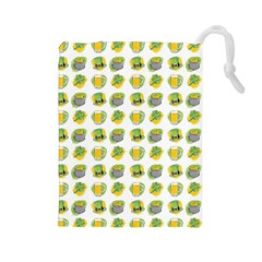 St Patrick S Day Background Symbols Drawstring Pouches (Large)