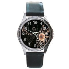Fractal Black Pearl Abstract Art Round Metal Watch