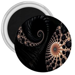 Fractal Black Pearl Abstract Art 3  Magnets