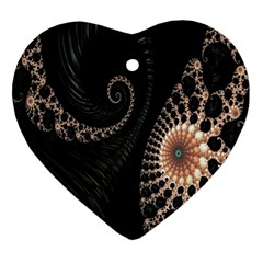 Fractal Black Pearl Abstract Art Ornament (Heart)