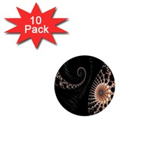 Fractal Black Pearl Abstract Art 1  Mini Buttons (10 Pack)