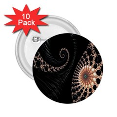 Fractal Black Pearl Abstract Art 2.25  Buttons (10 pack)