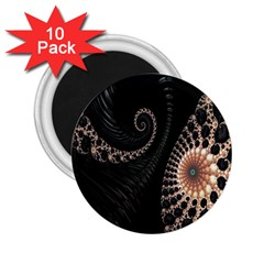 Fractal Black Pearl Abstract Art 2.25  Magnets (10 pack)