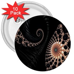 Fractal Black Pearl Abstract Art 3  Buttons (10 pack)