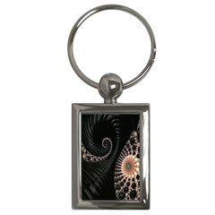 Fractal Black Pearl Abstract Art Key Chains (Rectangle)