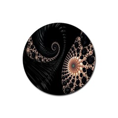 Fractal Black Pearl Abstract Art Rubber Coaster (round)