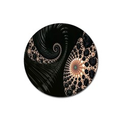 Fractal Black Pearl Abstract Art Magnet 3  (Round)