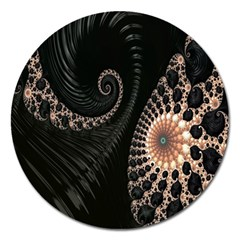 Fractal Black Pearl Abstract Art Magnet 5  (Round)