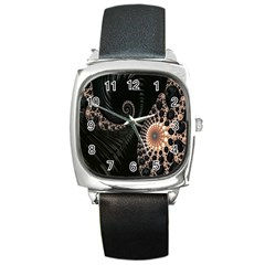 Fractal Black Pearl Abstract Art Square Metal Watch