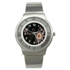 Fractal Black Pearl Abstract Art Stainless Steel Watch