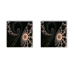 Fractal Black Pearl Abstract Art Cufflinks (Square)