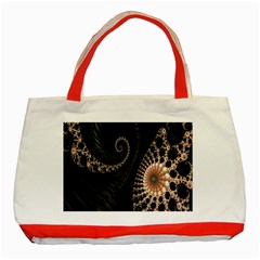 Fractal Black Pearl Abstract Art Classic Tote Bag (Red)