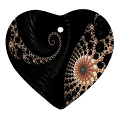 Fractal Black Pearl Abstract Art Heart Ornament (Two Sides)