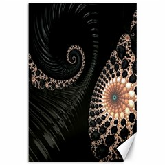 Fractal Black Pearl Abstract Art Canvas 12  X 18