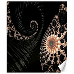 Fractal Black Pearl Abstract Art Canvas 20  x 24