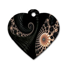 Fractal Black Pearl Abstract Art Dog Tag Heart (Two Sides)