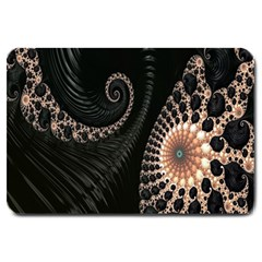 Fractal Black Pearl Abstract Art Large Doormat