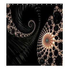 Fractal Black Pearl Abstract Art Shower Curtain 66  x 72  (Large)