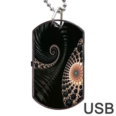 Fractal Black Pearl Abstract Art Dog Tag Usb Flash (one Side)