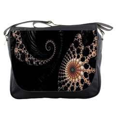 Fractal Black Pearl Abstract Art Messenger Bags