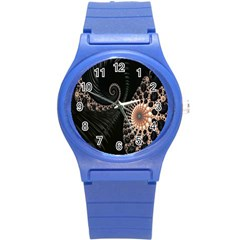 Fractal Black Pearl Abstract Art Round Plastic Sport Watch (s)