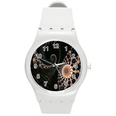 Fractal Black Pearl Abstract Art Round Plastic Sport Watch (M)
