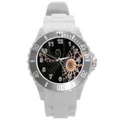 Fractal Black Pearl Abstract Art Round Plastic Sport Watch (l)