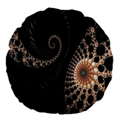 Fractal Black Pearl Abstract Art Large 18  Premium Round Cushions