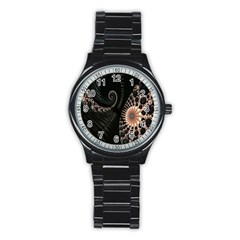 Fractal Black Pearl Abstract Art Stainless Steel Round Watch