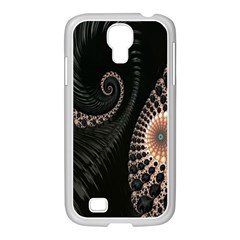 Fractal Black Pearl Abstract Art Samsung GALAXY S4 I9500/ I9505 Case (White)