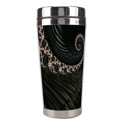 Fractal Black Pearl Abstract Art Stainless Steel Travel Tumblers