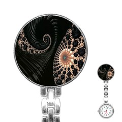 Fractal Black Pearl Abstract Art Stainless Steel Nurses Watch