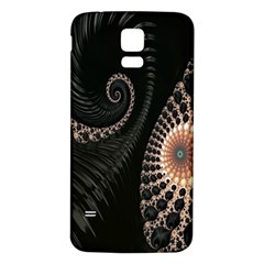 Fractal Black Pearl Abstract Art Samsung Galaxy S5 Back Case (White)