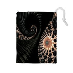 Fractal Black Pearl Abstract Art Drawstring Pouches (large)