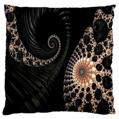 Fractal Black Pearl Abstract Art Large Flano Cushion Case (One Side)